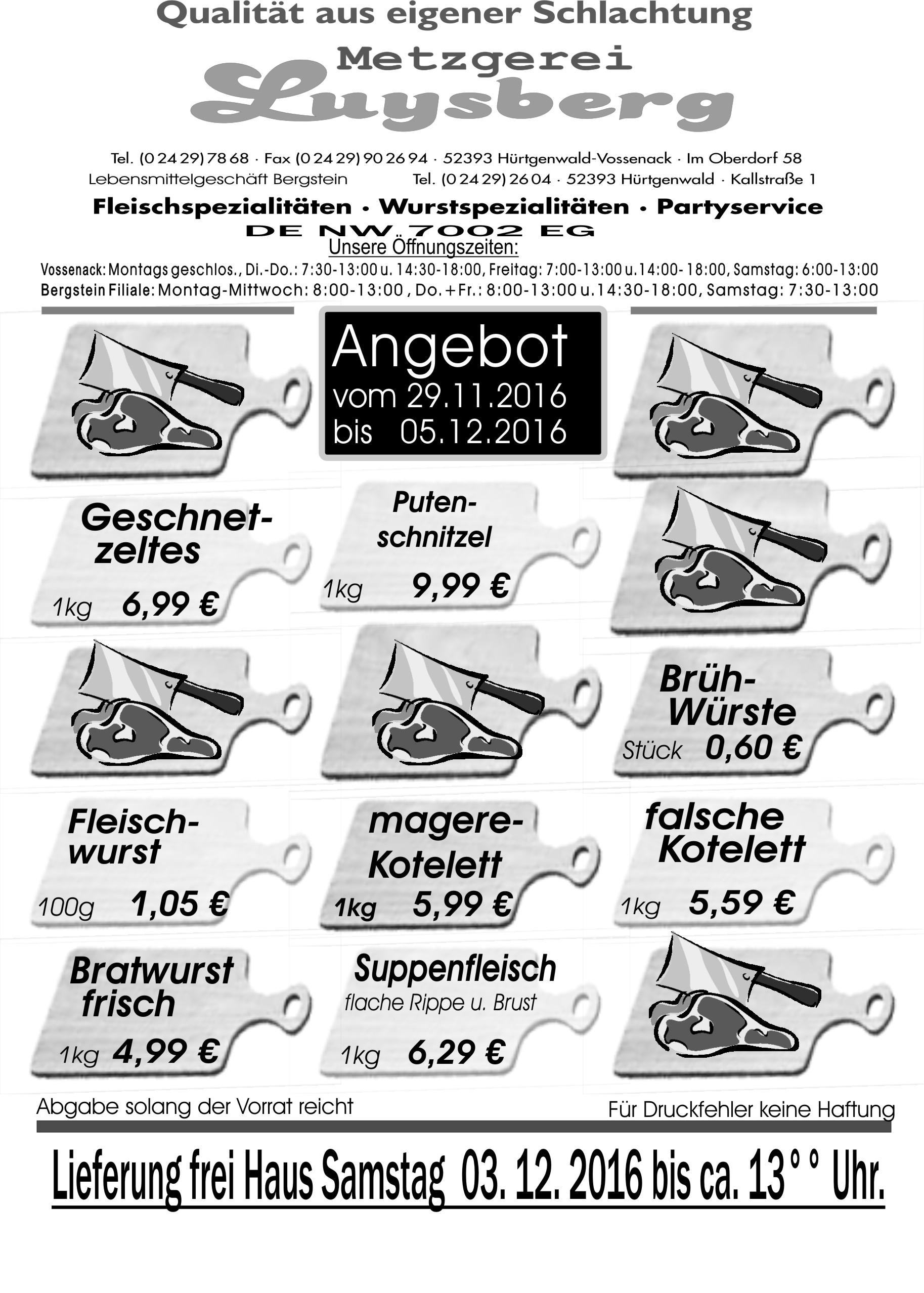 Angebot vom 29.11.-05.12.2016 - Metzgerei Luysberg